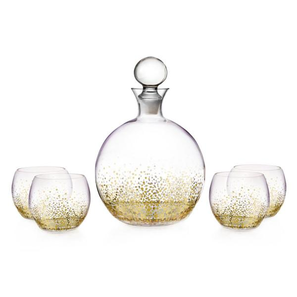 FITZ and FLOYD 74 oz. Luster Gold Decanter with 9 oz.