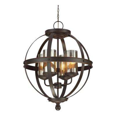 Sfera 18.5 in. W. 4-Light Autumn Bronze Chandelier with LED Bulbs