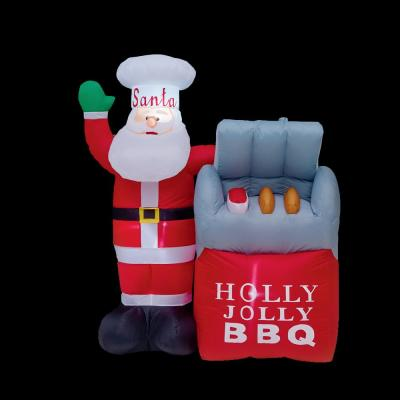 5 ft. H x 3.4 ft. W BBQ Santa Inflatable Airblown