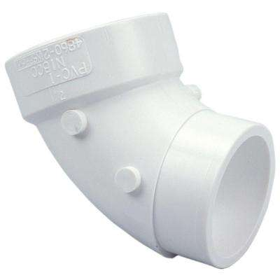 3 in. PVC DWV 90 Degree Spigot x Hub Street Elbow