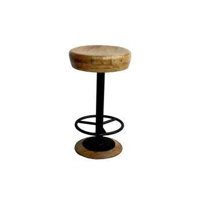 24 in. Brown and Black Industrial Style Adjustable Swivel Counter Height Stool with Hoop Footrest