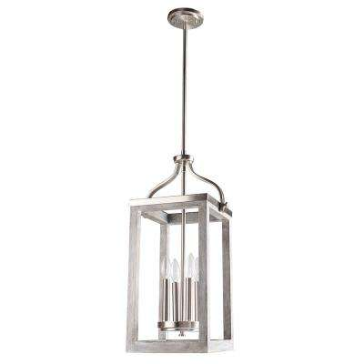 Westbury 4-Light Brushed Nickel with Painted Grey Driftwood Pendant