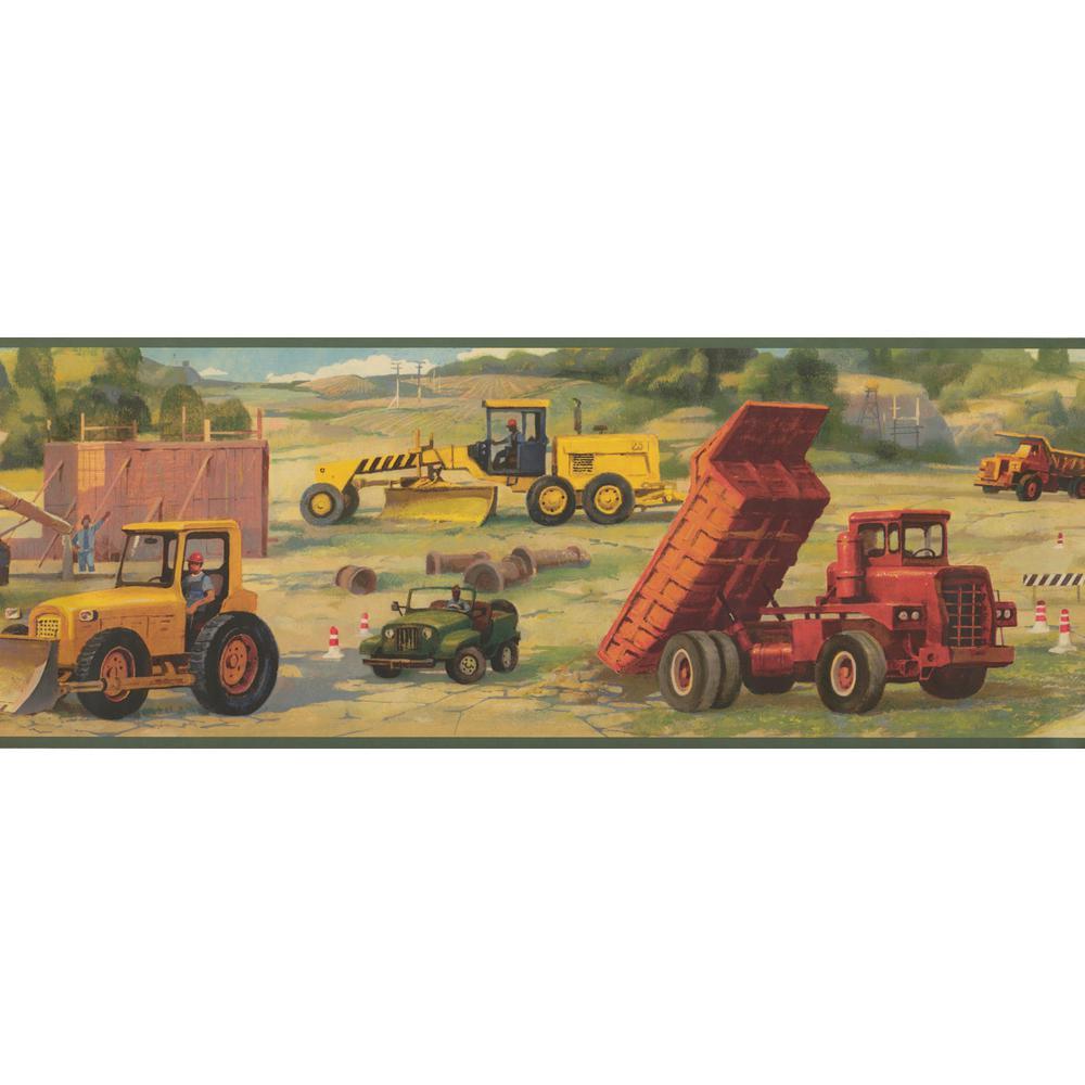 Construction Site Truck Bulldozer Kids Prepasted Wallpaper Border