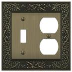 Bleinhem 2 Gang 1-Toggle and 1-Duplex Metal Wall Plate - Brushed Brass