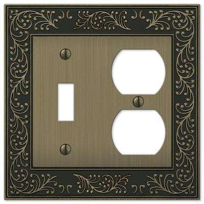 English Garden 1 Toggle 1 Duplex Combination Wall Plate - Brushed Brass