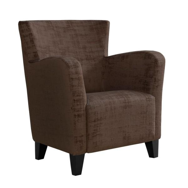 Brown Brushed Velvet Accent Chair
