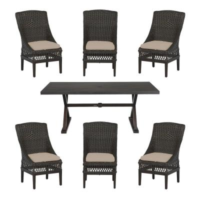 Hampton Bay Woodbury Dark Brown 7-Piece Wicker Dining Set
