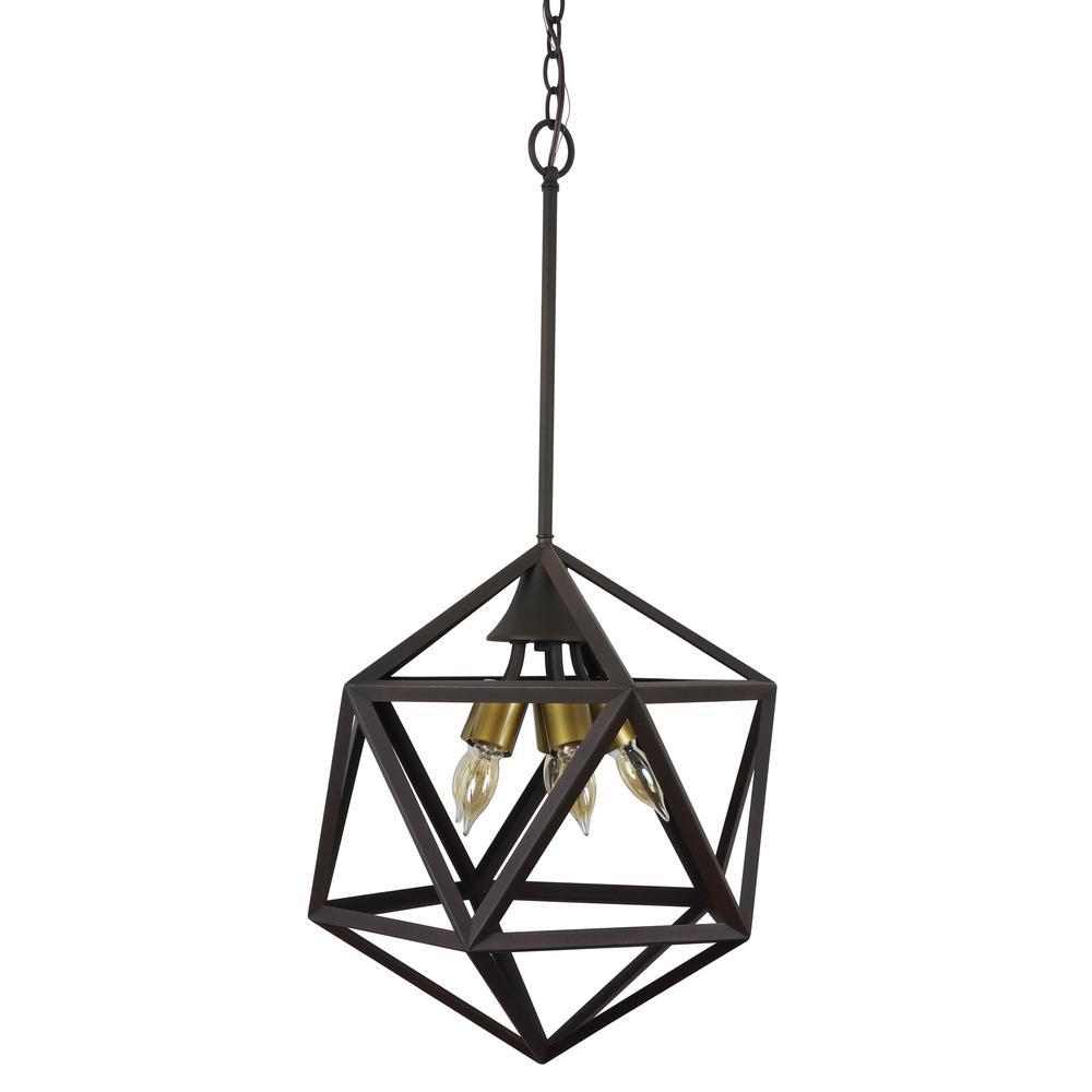 York 5-Light Bronze Geometric Metal Pendant