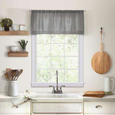 Elrene Cameron Single Window Kitchen Valance in Gray - 60 in. W x 15 in. L