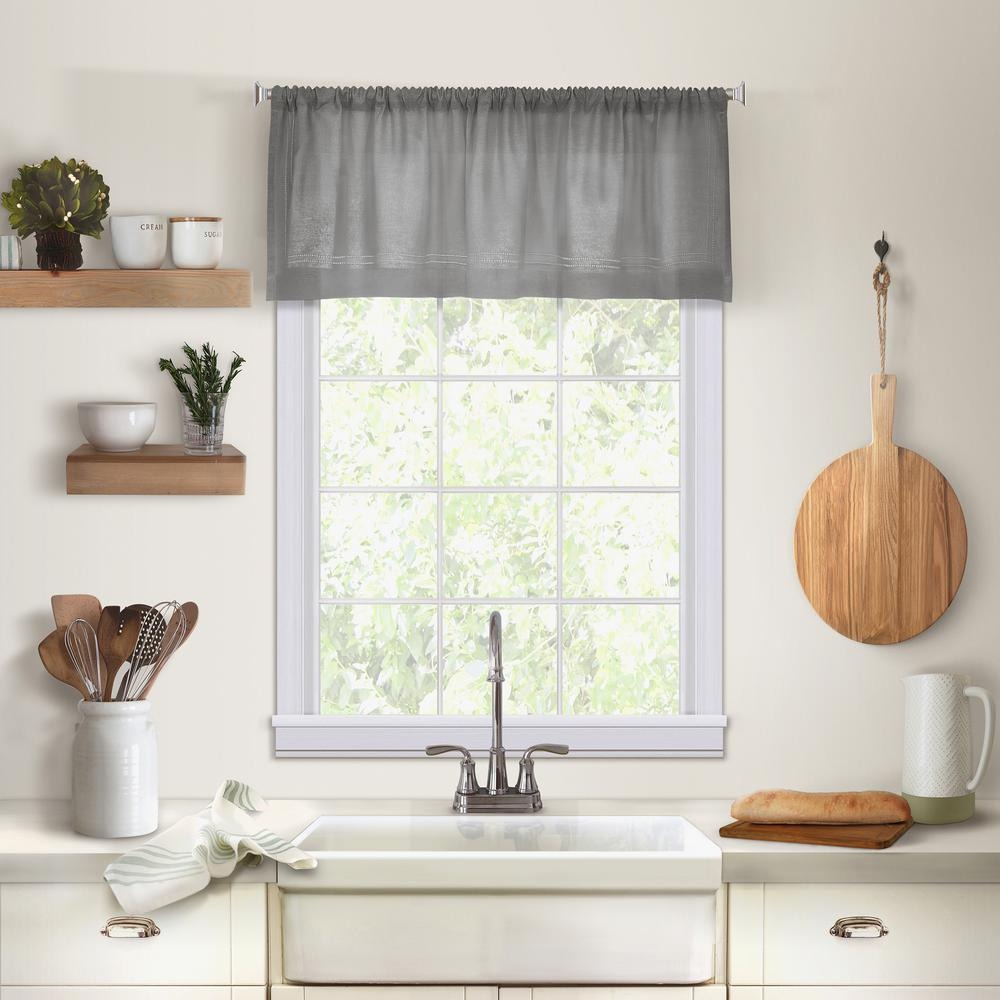 Elrene Cameron Kitchen Tier Window Valance 38957gry The Home Depot