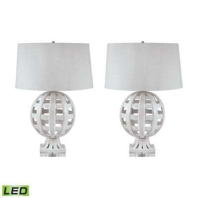 28 in. White Open Work Ceramic Globe LED Table Lamp