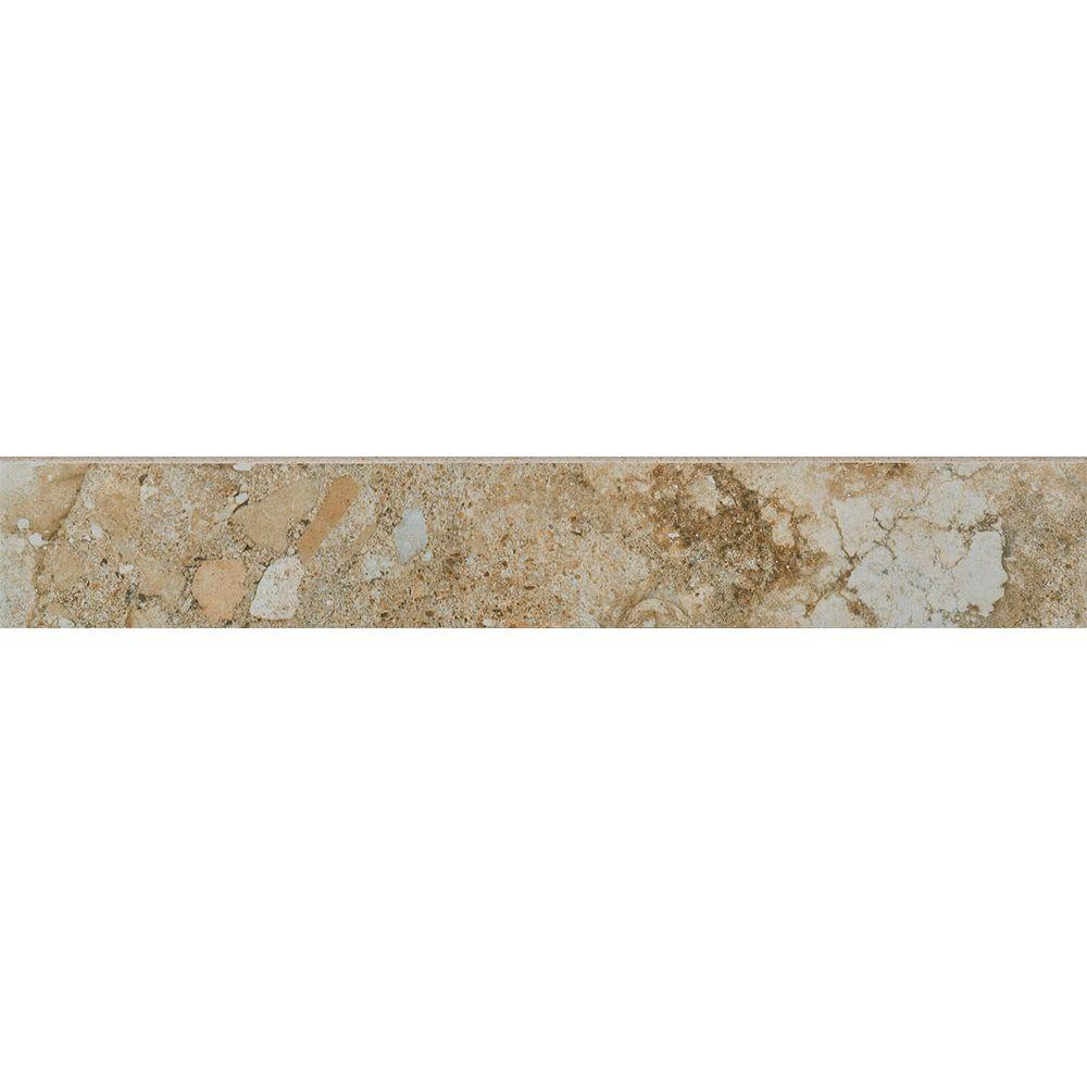 Florida Tile Home Collection Venetia Noce 3 in. x 18 in. Porcelain Floor and Wall Bullnose Tile