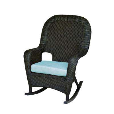 Sea Pines Tortoise Wicker Outdoor Rocking Chair with Rave Spearmint Cushion