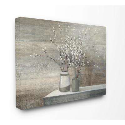 "30 in. x 40 in. ""Pussy Willow Still Life"" by Wild Apple Printed Canvas Wall Art"