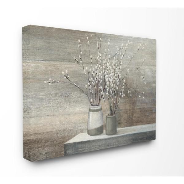 30 in. x 40 in. ''Pussy Willow Still Life'' by Wild Apple Printed Canvas Wall Art