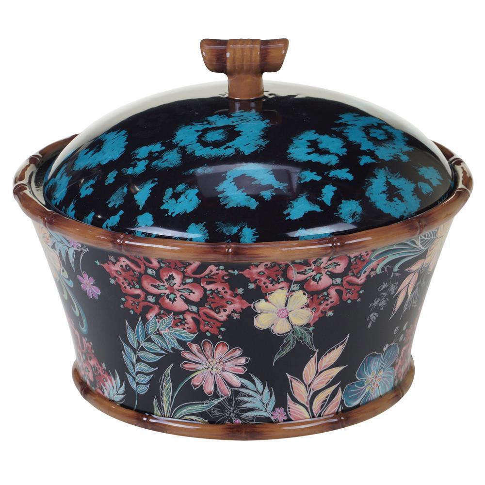 Multi-Colored 80 oz. Exotic Jungle 3-D Covered Bowl