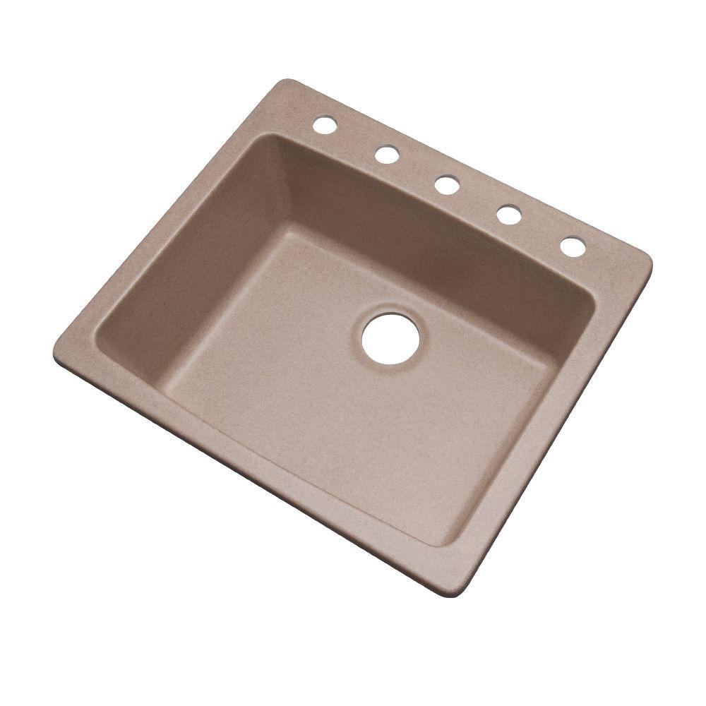 Mont Blanc Northbrook Dual Mount Composite Granite 25 in. 5-Hole Single Bowl Kitchen Sink in Desert Sand