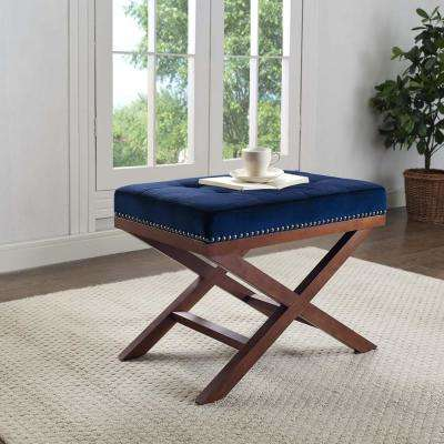 Facet Navy Velvet Bench