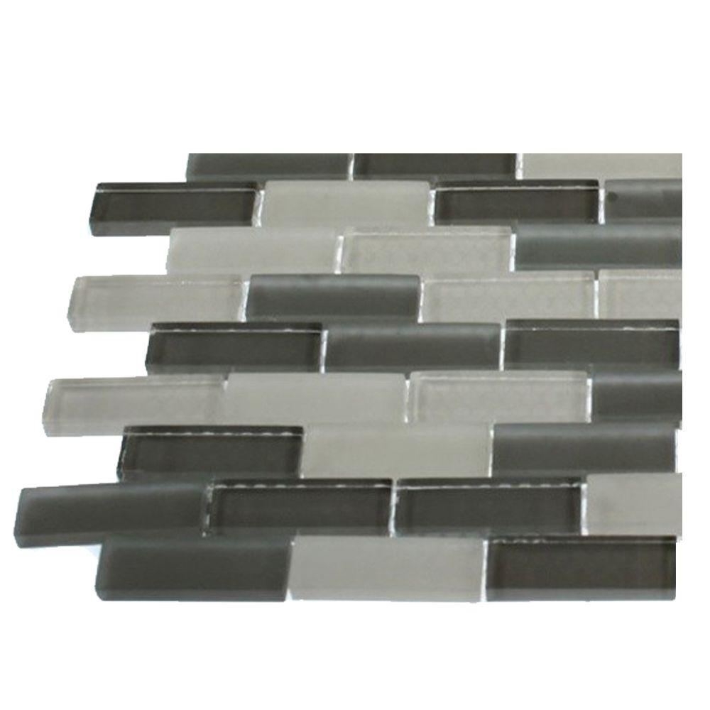 Splashback Tile Contempo Brooklyn Blend Glass Mosaic Floor and Wall Tile - 3 in. x 6 in. x 8 mm Tile Sample