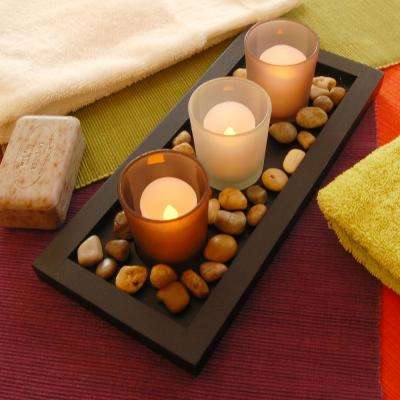 Pebble Candle Tray with 3 Glass Votives
