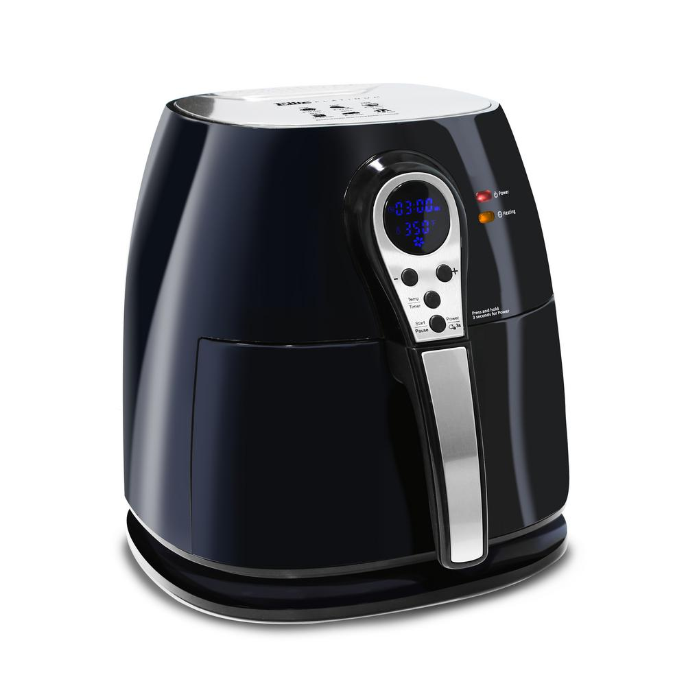 Elite Platinum 3.2 Qt. Digital Air Fryer, Black The Elite Platinum Digital Air Fryer has a variety of functions to handle a wide array of cooking tasks. With its easy to use digital display, you can fry, cook, or even bake your favorite meals and snacks with ease. Not only can you cook foods without the mess of oil but you can cook faster which saves you time and energy. Unlike most conventional deep fryers, the Digital Air Fryer's unique vapor system combined with circulating hot air will automatically make foods crispier and of course healthier without oil. Color: Black.