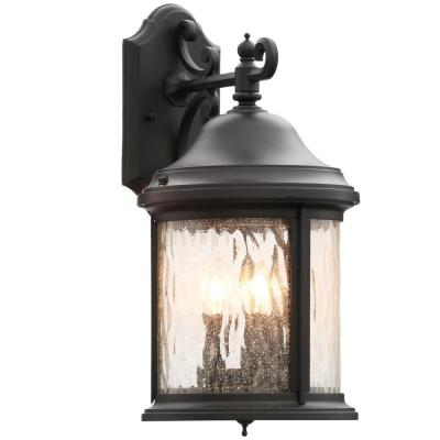 Ashmore Collection 3-Light Textured Black 17.25 in. Outdoor Wall Lantern Sconce