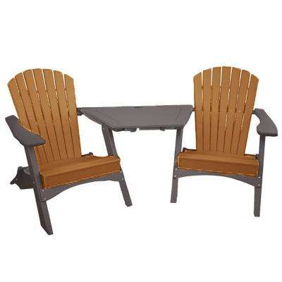 Camel on Mocha 3-Piece Poly-Lumber Folding Patio Conversation Set