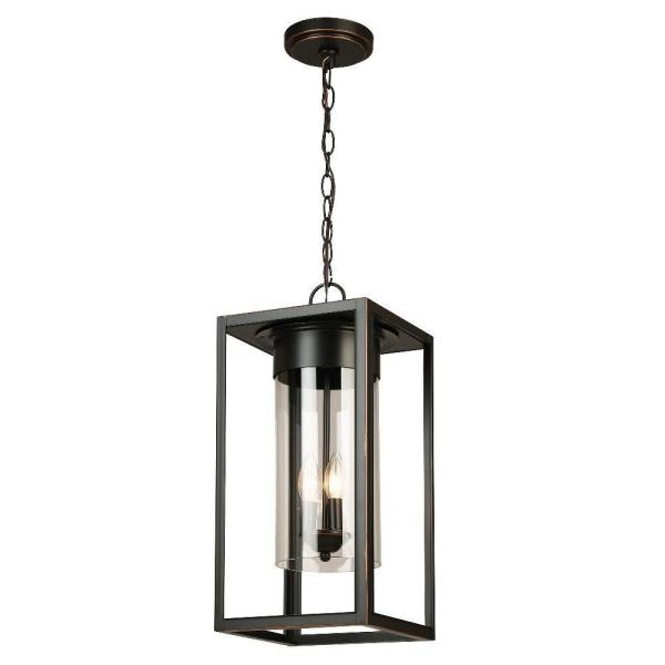 Walker Hill 3-Light Outdoor Pendant with Oil Rubbed Bronze Finish and Clear Glass