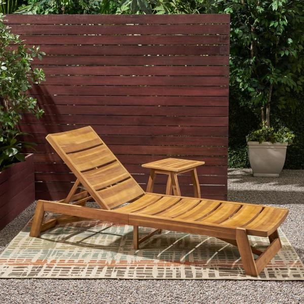 Mahalo Teak Brown 2-Piece Wood Patio Conversation Seating Set