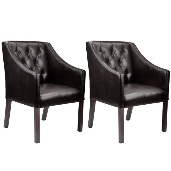 Antonio Brown Bonded Leather Accent Club Chair (Set of 2)