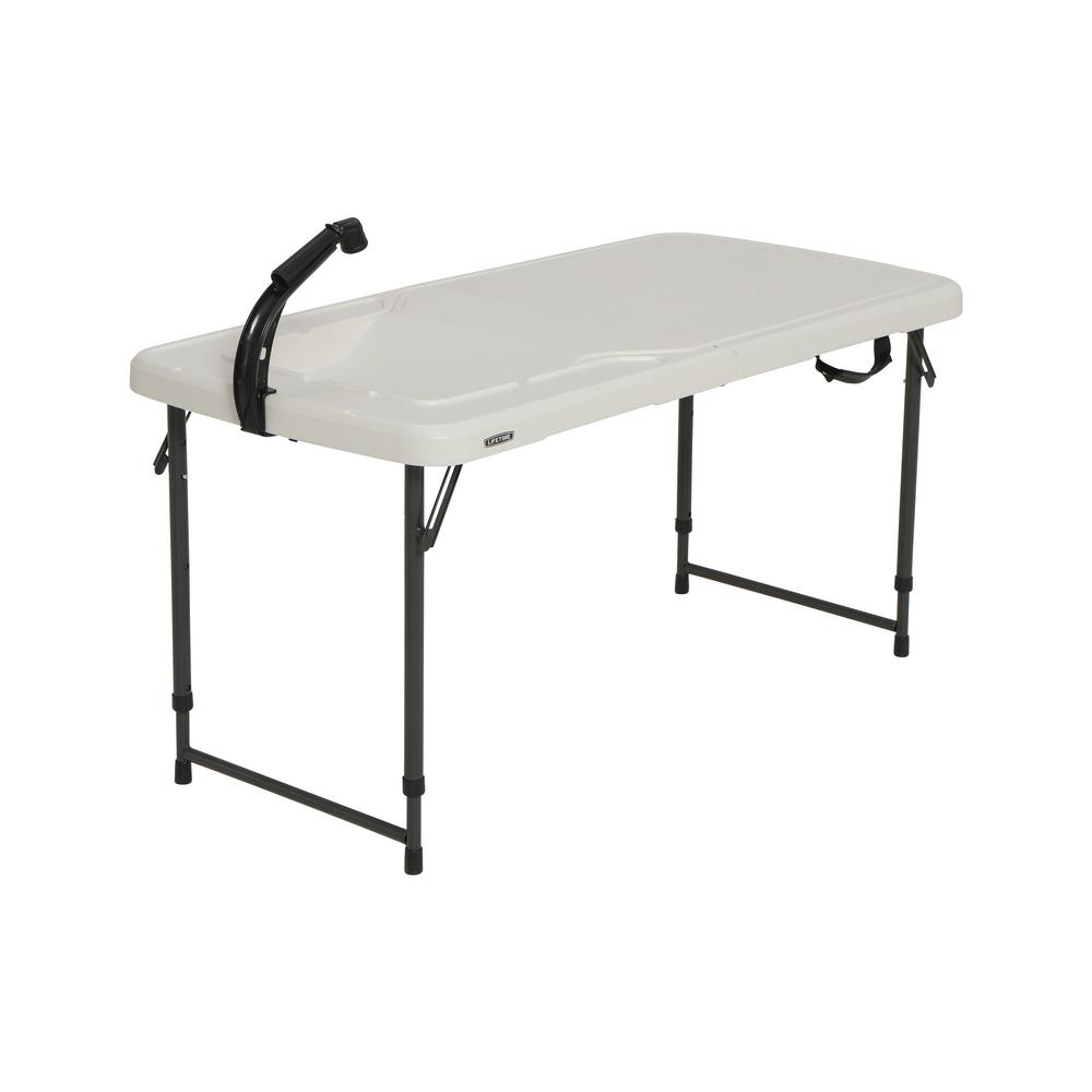 4 ft. Adjustable Height Fold-in-Half Fish Cleaning Camping Table