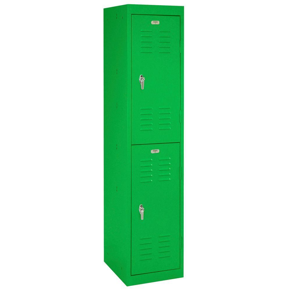 Sandusky 15 in. W x 66 in. H x 18 in. D 2-Tier Locker in Primary Green