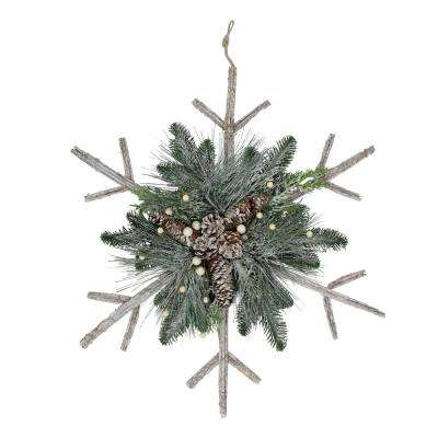 24 in. Frosted Mixed Pine Twig Snowflake Christmas Ornament