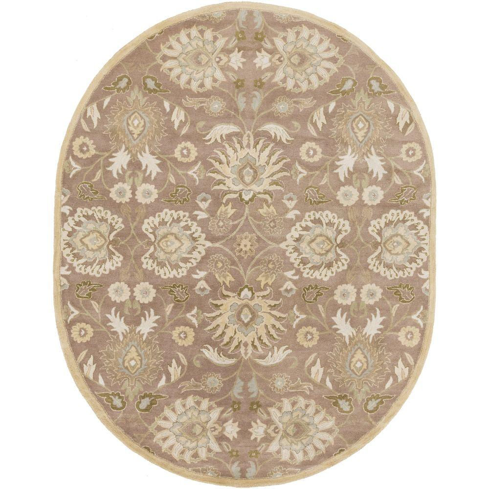 Cambrai Olive 6 ft. x 9 ft. Oval Indoor Area Rug
