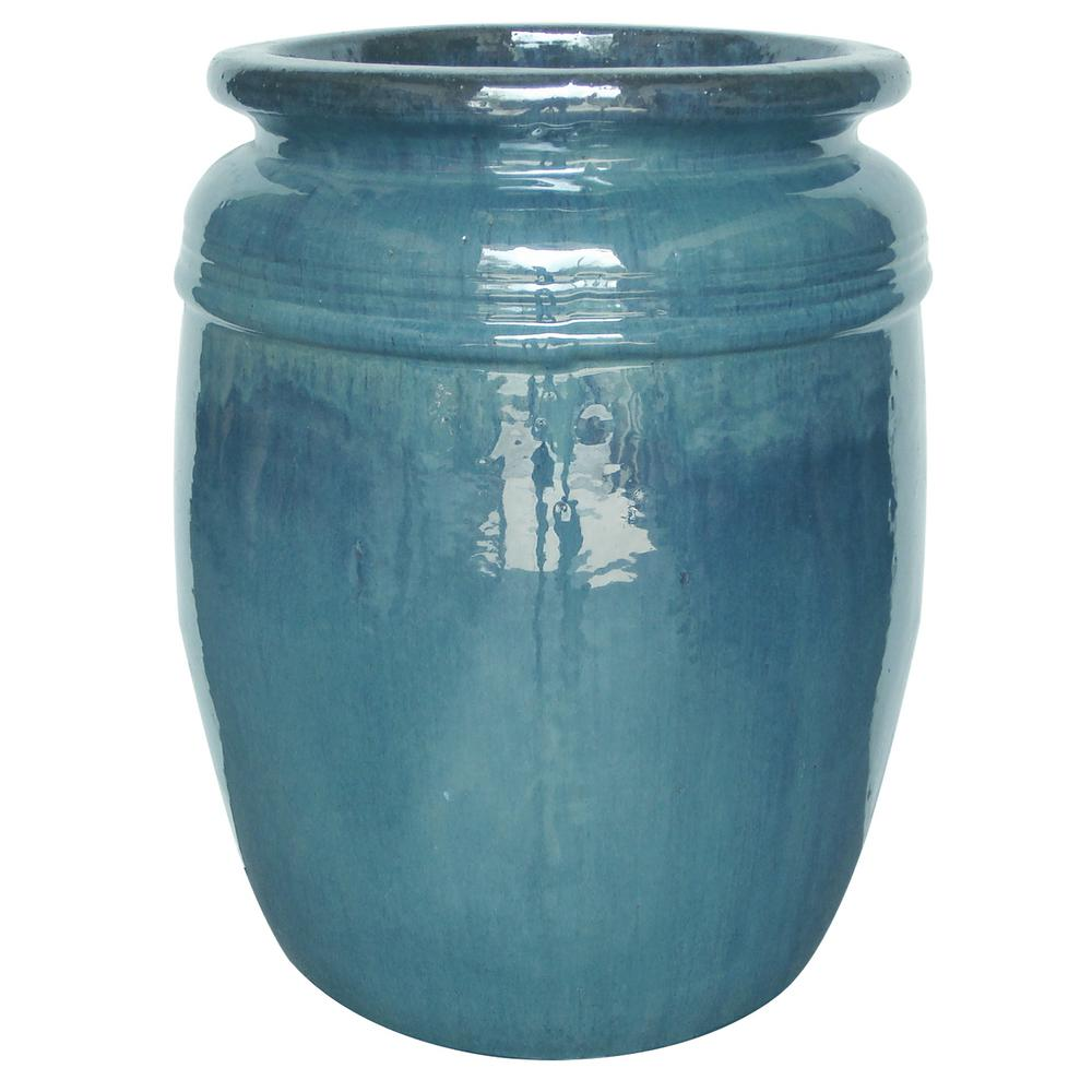 14 in. Dia Aqua Blue Ceramic Mika Pot