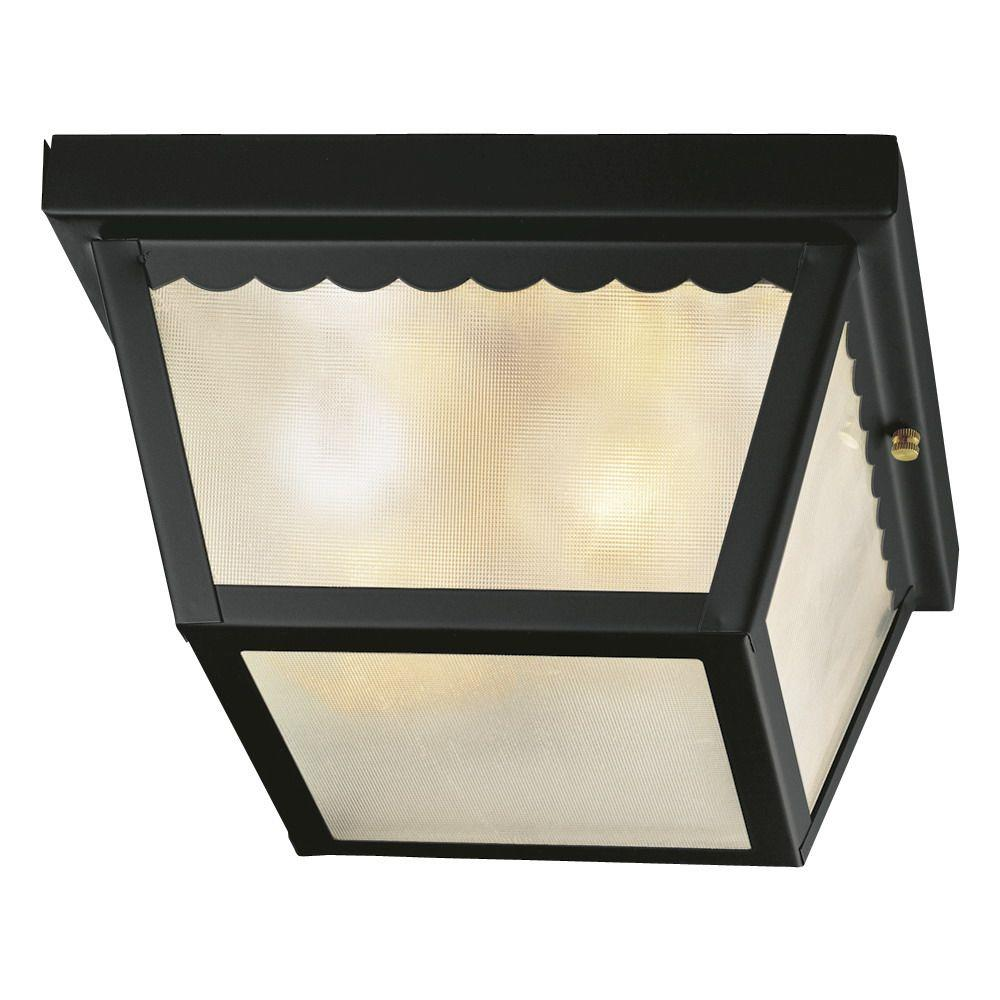 Outdoor flush mount lights outdoor ceiling lighting the home depot 2 light matte black outdoor flushmount workwithnaturefo