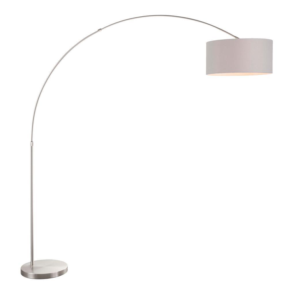 Lumisource Salon 76 in. Satin Nickel Floor Lamp with Grey Shade