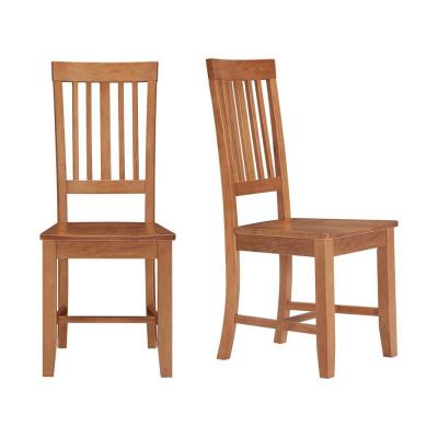 Scottsbury Honey Brown Wood Dining Chair with Slat Back (Set of 2) (16.7 in. W x 38.7 in. H)