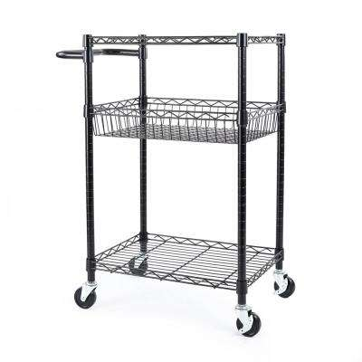 3-Tier Steel Wire Multipurpose Basket Shelf Adjustable Storage Utility Cart in Black