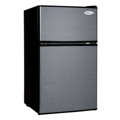 3.1 cu. ft. Mini Refrigerator in Black with Stainless Steel Door