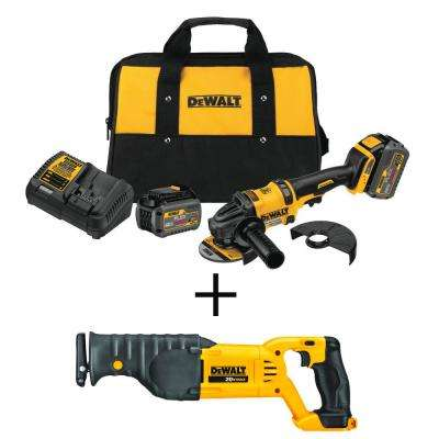 FLEXVOLT 4-1/2 in. 60-Volt MAX Lithium Ion Cordless Brushless Angle Grinder w/Bonus Reciprocating Saw (Tool-Only)