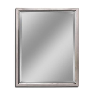 24 in. W x 30 in. H Classic Metal Framed Wall Mirror in Brush Nickel / Chrome