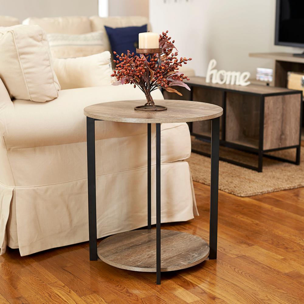 Household Essentials Gray Tone Round Double Tier End Table by Household Essentials