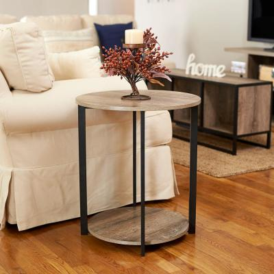Gray Tone Round Double Tier End Table