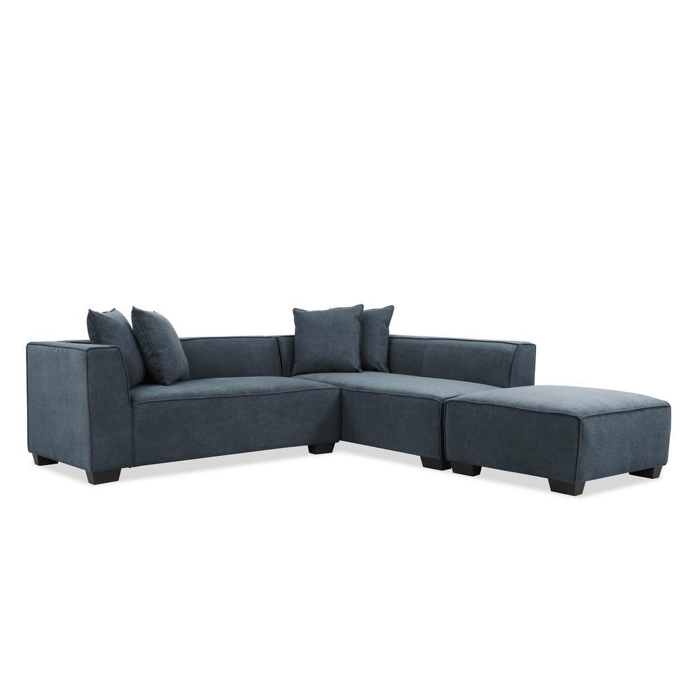 Phoenix Sectional Sofa with Ottoman in Caribbean Blue Plush Low-Pile Velvet