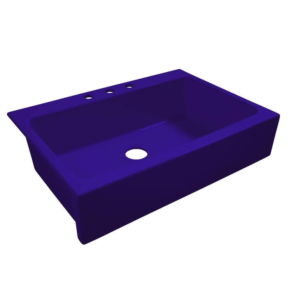 SINKOLOGY Josephine All-in-One Quick-Fit Fireclay 33.85 in. 3-Hole Single Bowl Farmhouse Kitchen Sink in Puddle Jump Royal Blue