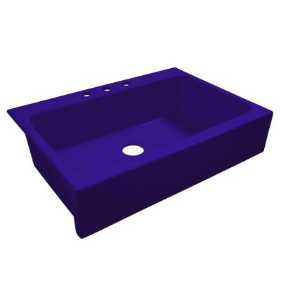Josephine All-in-One Quick-Fit Fireclay 33.85 in. 3-Hole Single Bowl Farmhouse Kitchen Sink in Puddle Jump Royal Blue