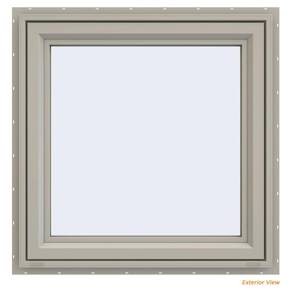 35.5 in. x 35.5 in. V-4500 Series Desert Sand Painted Vinyl Left-Handed Casement Window with Fiberglass Mesh Screen