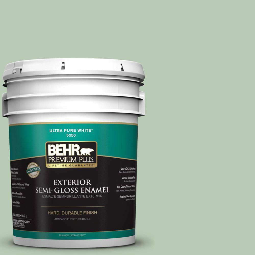 5-gal. #S400-3 Healing Aloe Semi-Gloss Enamel Exterior Paint