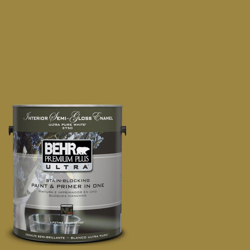 1 gal. #UL180-3 Madagascar Semi-Gloss Enamel Interior Paint and Primer in